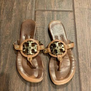 Tory Burch Miller Sandals Brown Gold Flip Flops 6
